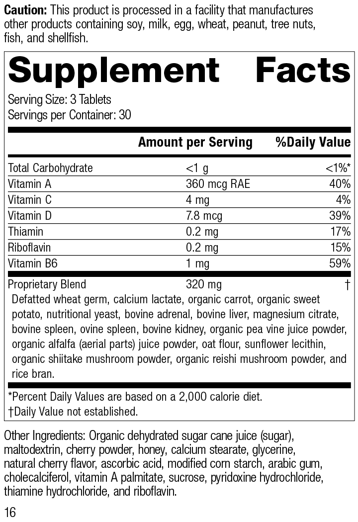 Catalyn® Chewable, 90 Tablets, Rev 16 Supplement Facts