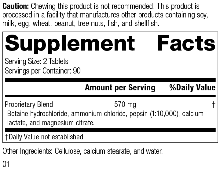 Betaine Hydrochloride, Rev 01 Supplement Facts