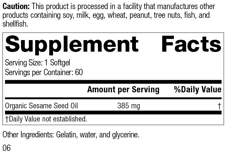 Sesame Seed Oil, 60 Softgels, Rev 06 Supplement Facts