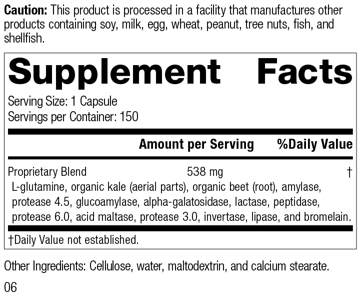 Enzycore, 150 Capsules, Rev 06 Supplement Facts