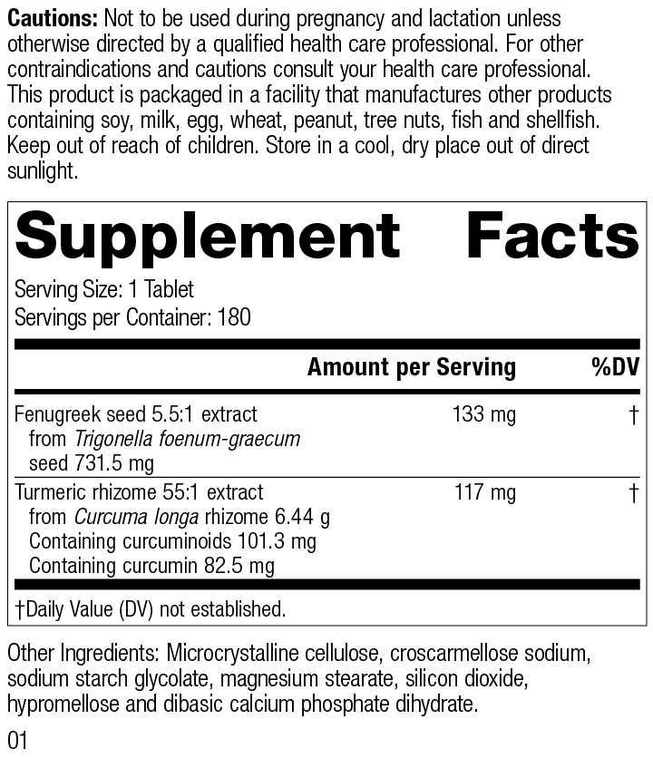 Nutrition Label for Turmeric Forte
