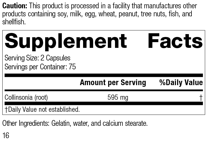 Nutrition Label for Collinsonia Root