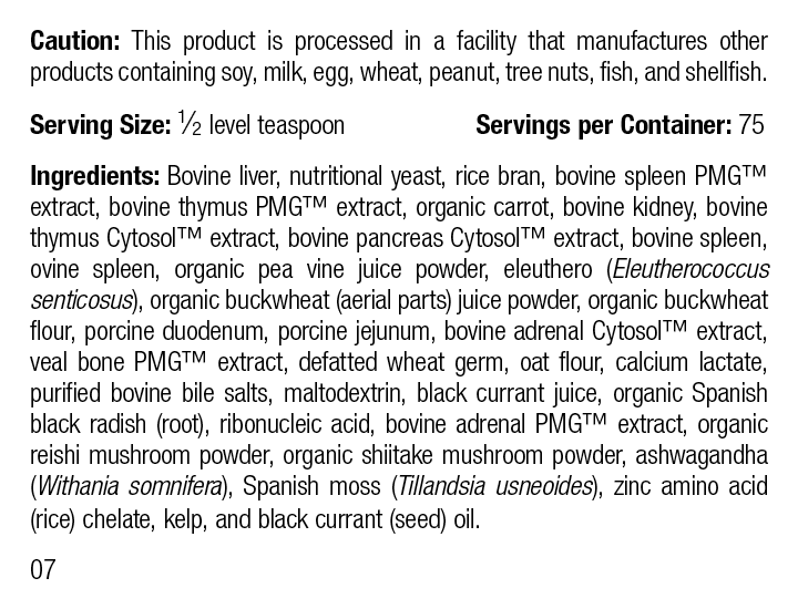 Canine Immune System Support, 110 g, Rev 07 Supplement Facts