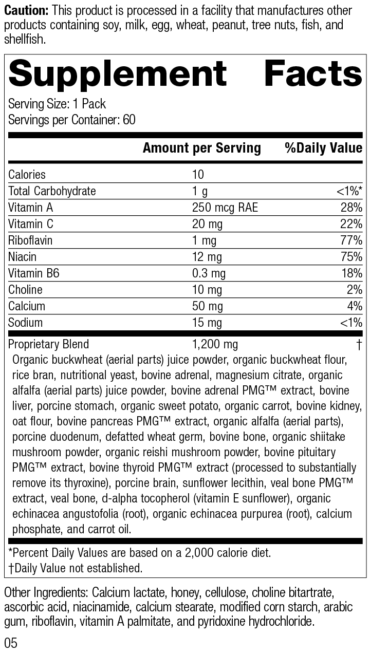 Nutrition Label for Daily Fundamentals - Adrenal Health