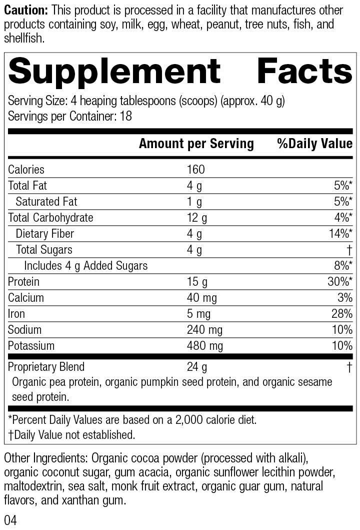 Veg-E Complete Pro™ Chocolate, 26 Ounces, Rev 04 Supplement Facts