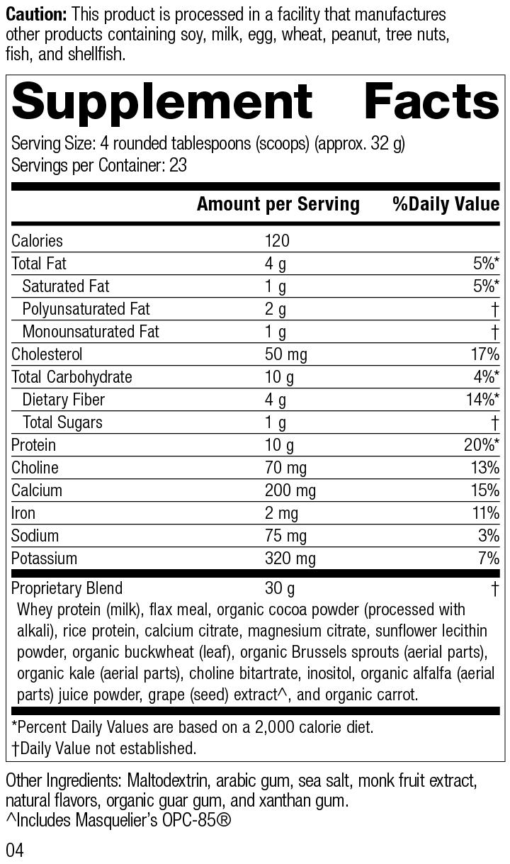 SP Complete® Chocolate, 26 Ounces, Rev 04 Supplement Facts