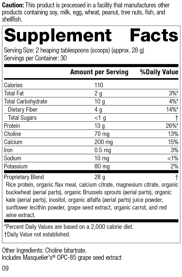 SP Complete® Dairy Free, Rev 09 Supplement Facts