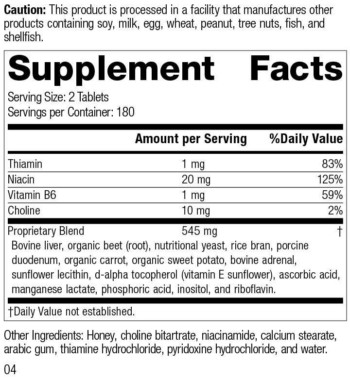 Nutrition Label for Cataplex® B-GF