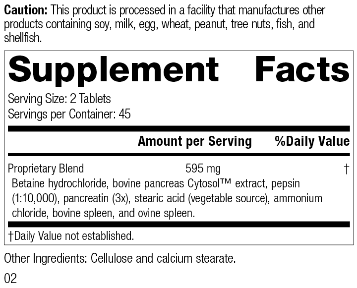 Zypan®, 90 Tablets, Rev 02 Supplement Facts