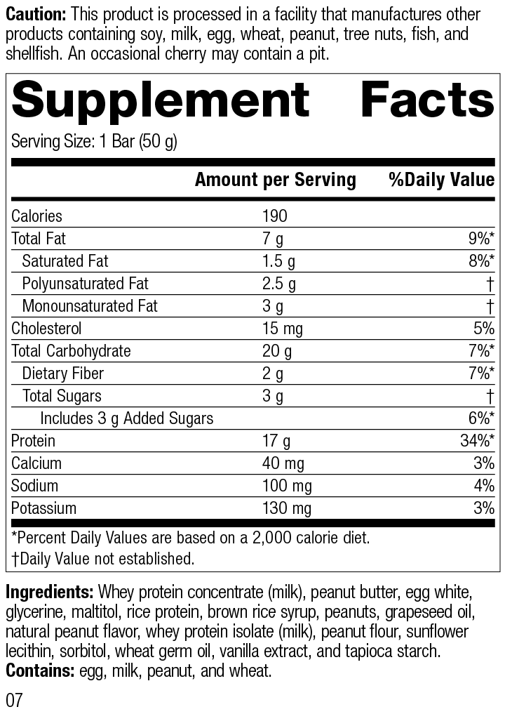 Nutrition Label for StandardBar®-Peanut Butter