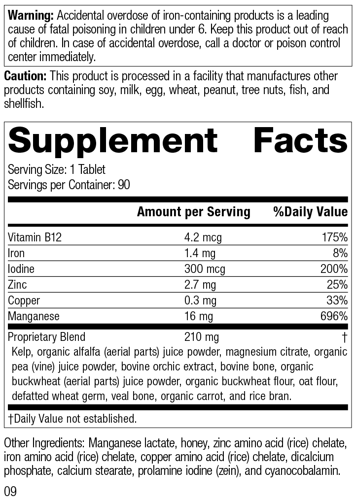 Nutrition Label for Trace Minerals-B12™