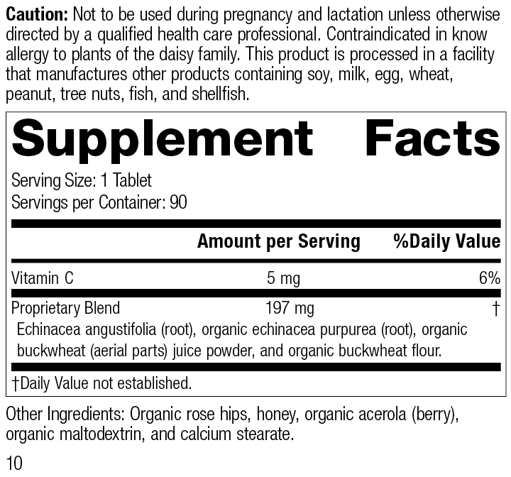 Echinacea-C™, 90 Tablets, Rev 10 Supplement Facts