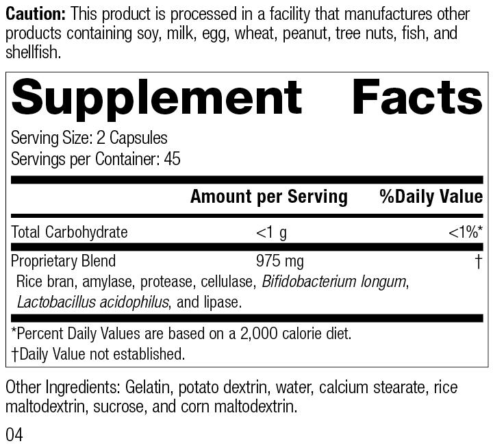 Lact-ENZ 5130 Rev 04 Supplement Facts