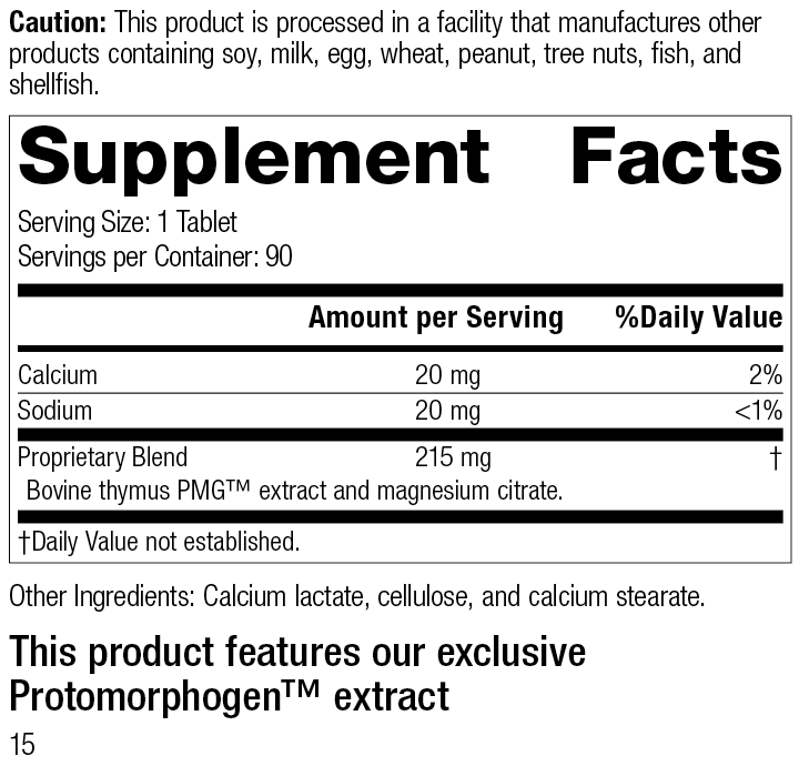 Thymus PMG®, 90 Tablets, Rev 15 Supplement Facts