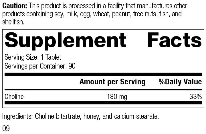 Choline, 90 Tablets, Rev 09 Supplement Facts