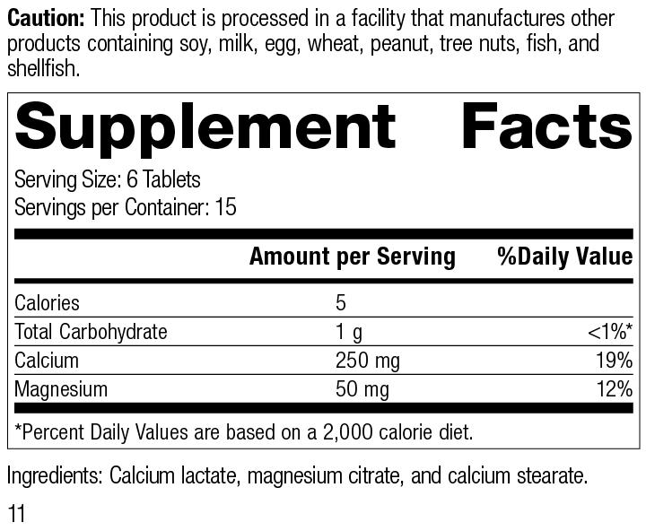 Calcium Lactate, 90 Tablets, Rev 11 Supplement Facts