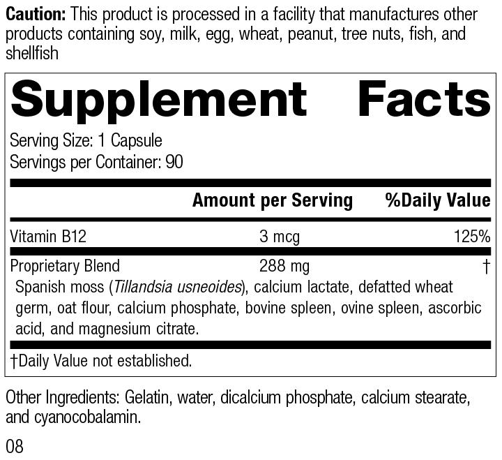 For-Til B12®, 90 Capsules, Rev 08 Supplement Facts