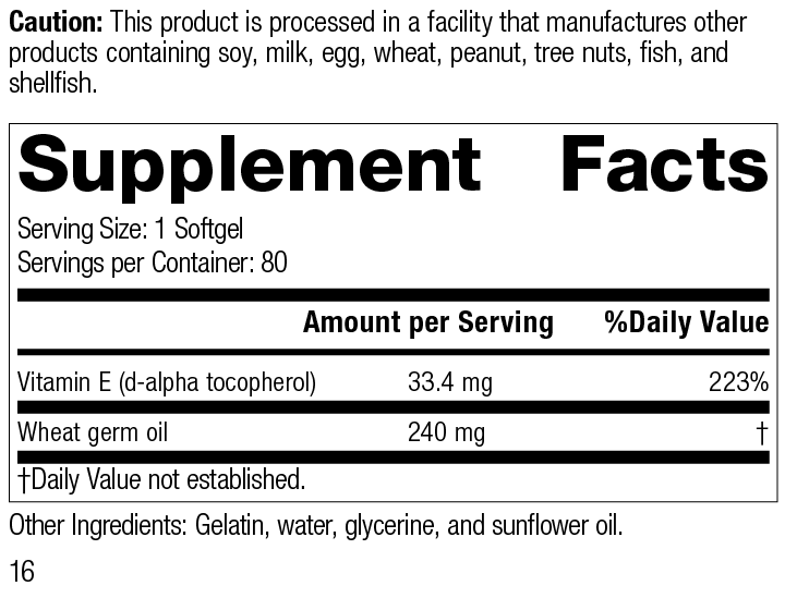 Wheat Germ Oil Fortified™, Rev 16 Supplement Facts