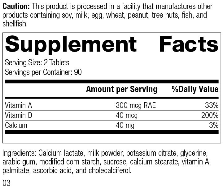 Cataplex® D, 180 Tablets, Rev 03 Supplement Facts