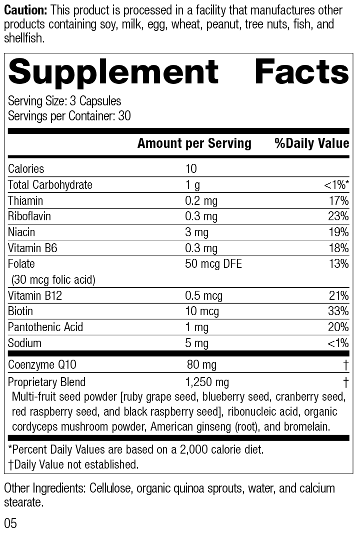 Cellular Vitality, 90 Capsules, Rev 05 Supplement Facts