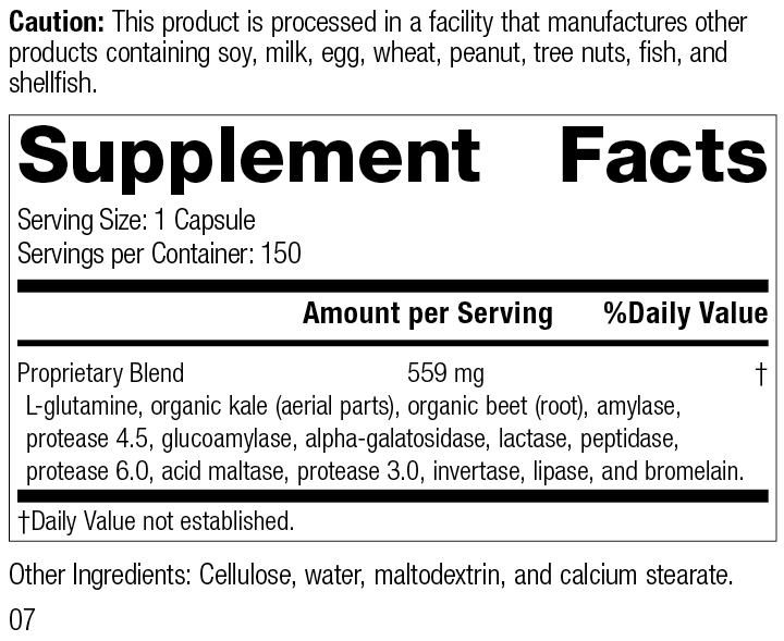 Enzycore, 150 Capsules, Rev 07 Supplement Facts