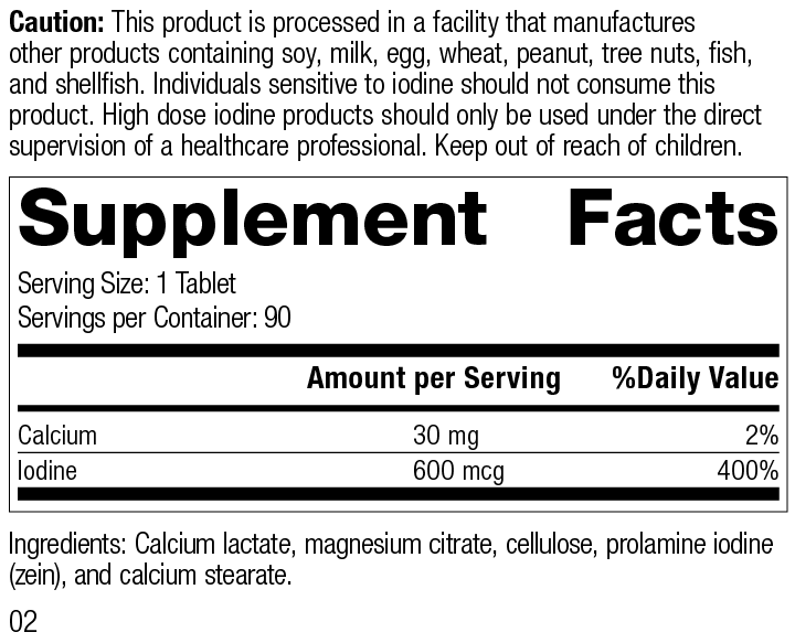 Prolamine Iodine, 90 Tablets, Rev 02 Supplement Facts