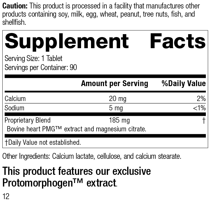 Nutrition Label for Myotrophin PMG®