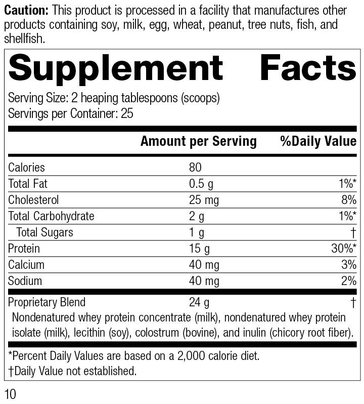 Whey Pro Complete, 19 Ounces (540 g), Rev 10 Supplement Facts