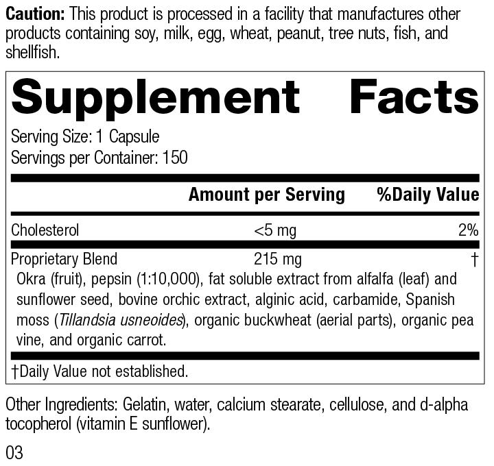 Okra Pepsin E3, 150 Capsules, Rev 03 Supplement Facts