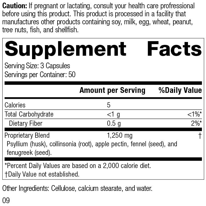 Gastro-Fiber®, 150 Capsules, Rev 09 Supplement Facts