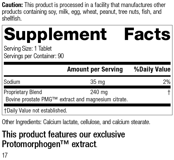 Nutrition Label for Prostate PMG®