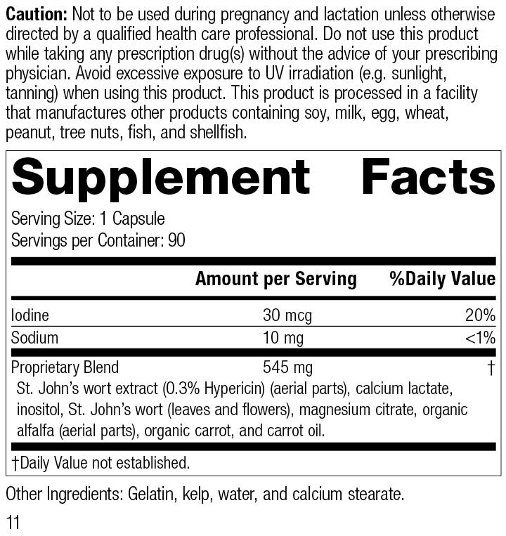 Nutrition Label for St. John's Wort-IMT™