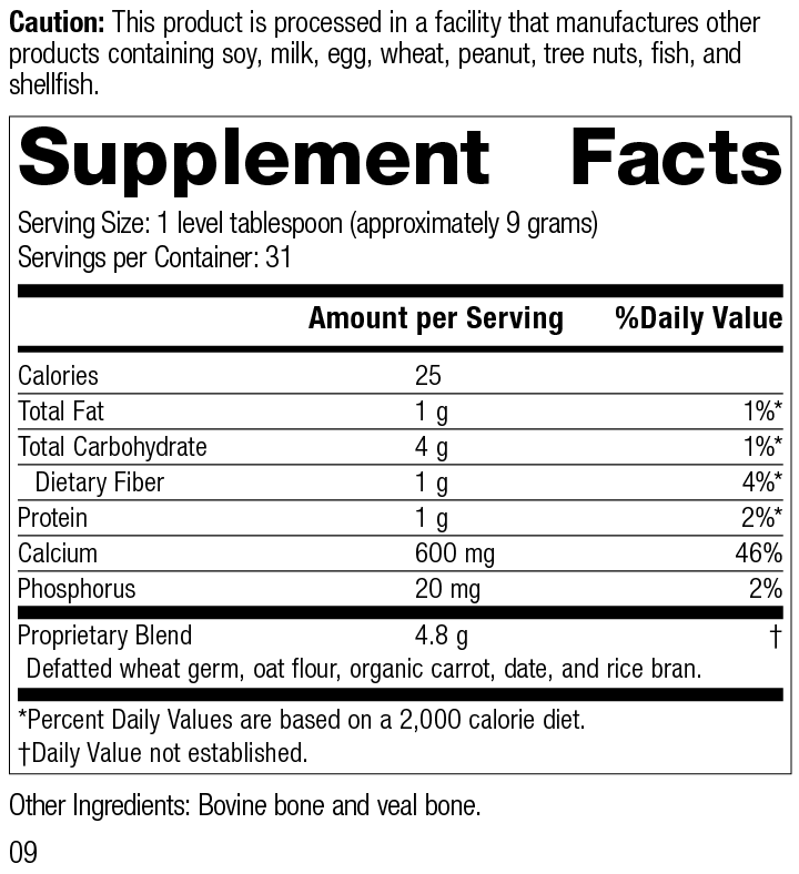 Calcifood® Powder, 10 Ounces, Rev 09 Supplement Facts