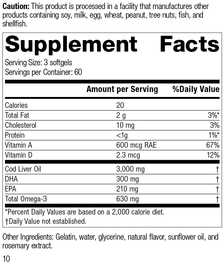Nutrition Label for Cod Liver Oil