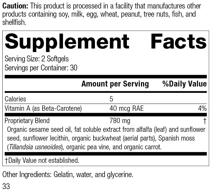 Chlorophyll Complex™, 60 Softgels, Rev 33, Supplement Facts