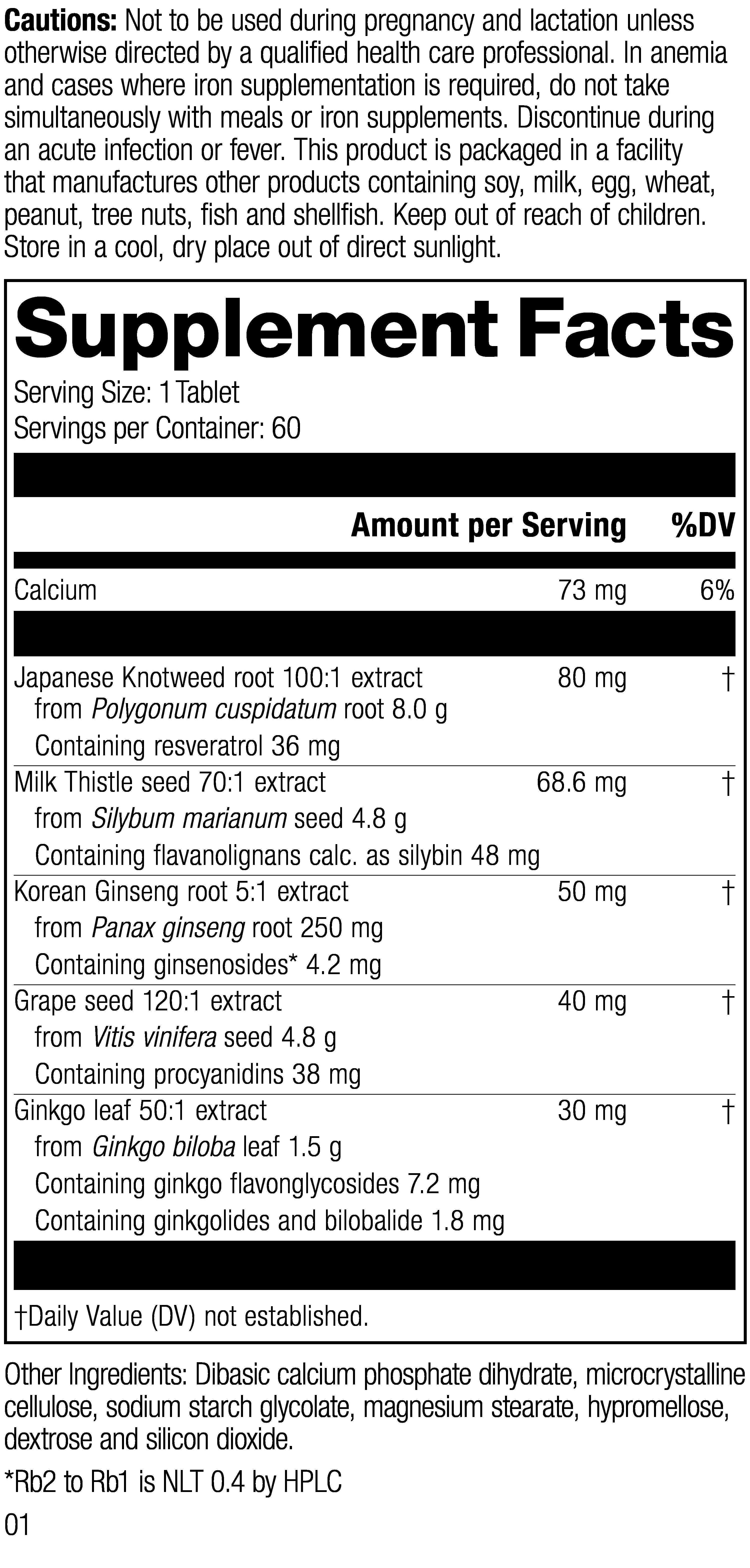 Nutrition Label for HerbaVital