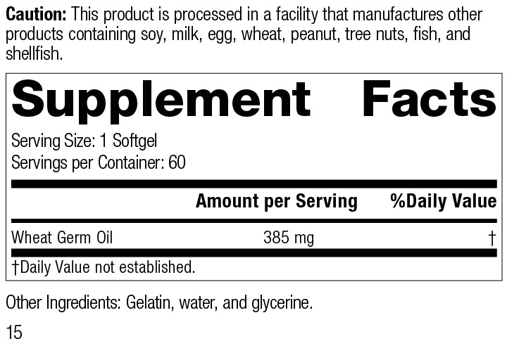 Nutrition Label for Wheat Germ Oil