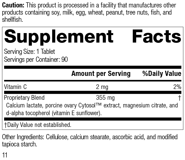 Ovex® P, 90 Tablets, Rev 11 Supplement Facts
