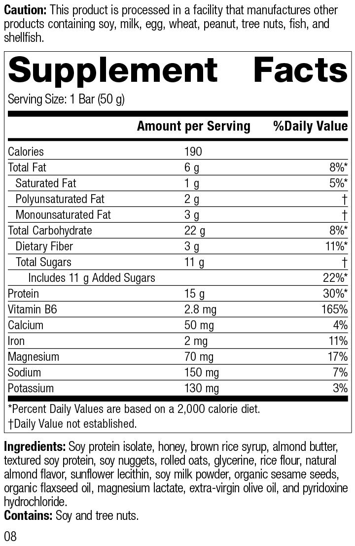 Nutrition Label for StandardBar®-Soy Almond Crunch