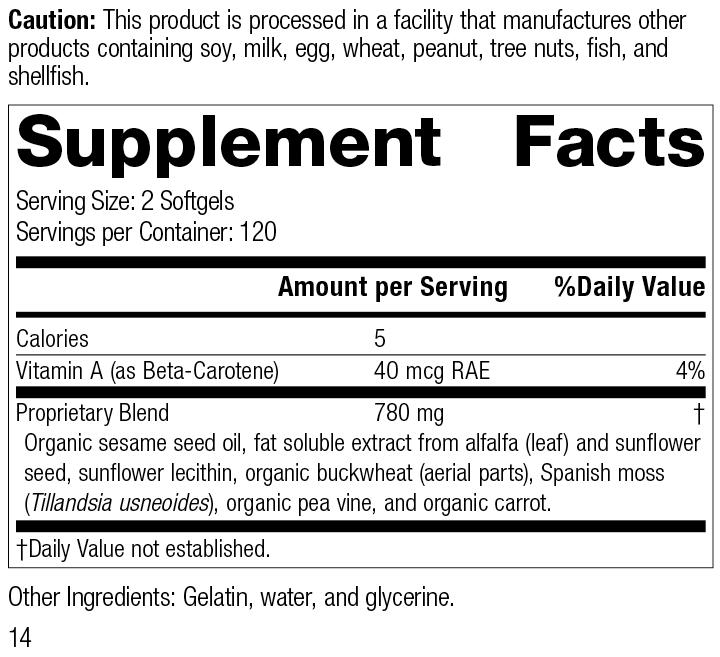 Chlorophyll Complex™, 240 Softgels, Rev 14, Supplement Facts