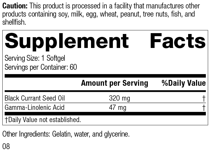 Black Currant Seed Oil, 60 Softgels, Supplement Facts