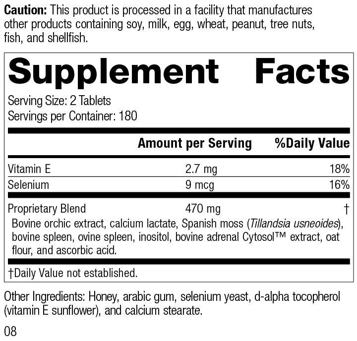 Nutrition Label for Cataplex® E2
