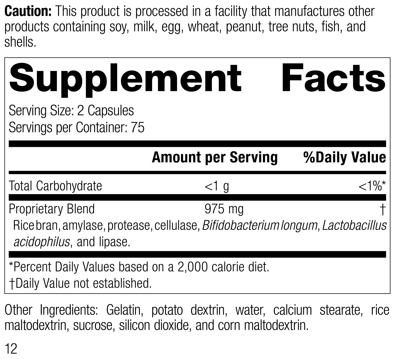 5135 Lact-Enz Rev 12 Supplement Facts