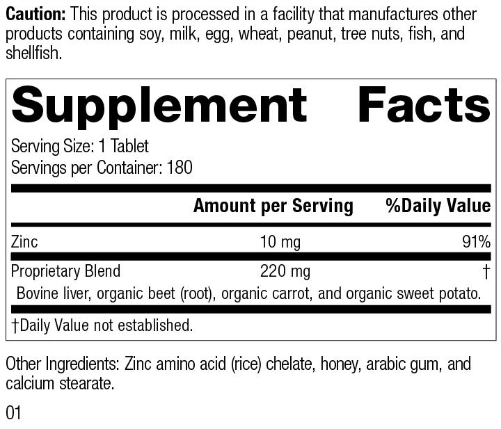 Zinc Chelate™, 180 Tablets, Rev 01 Supplement Facts