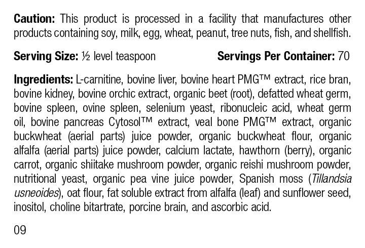 Canine Cardiac Support, 100 g, Rev 09 Supplement Facts