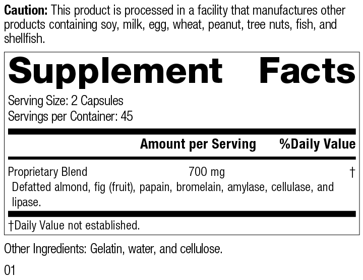 Nutrition Label for Zymex® II