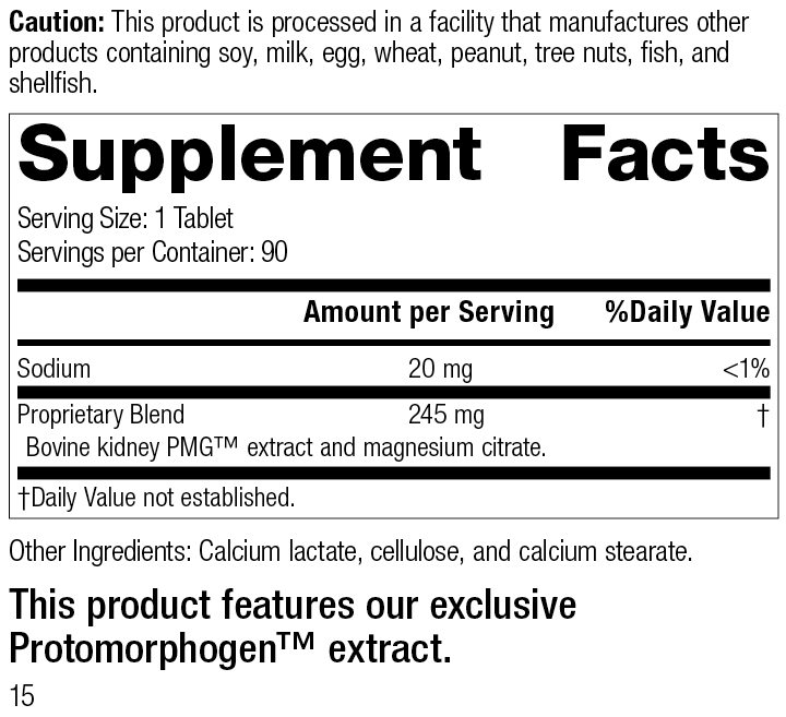 Renatrophin PMG®, 90 Tablets, Rev 15 Supplement Facts