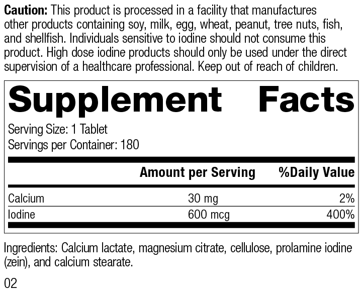 Prolamine Iodine, 180 Tablets, Rev 02 Supplement Facts