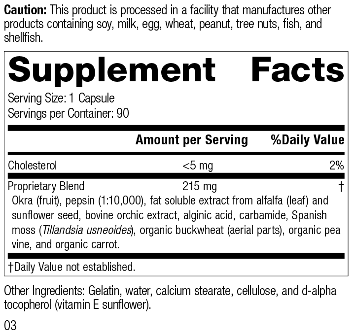 Okra Pepsin E3, 90 Capsules, Rev 03 Supplement Facts