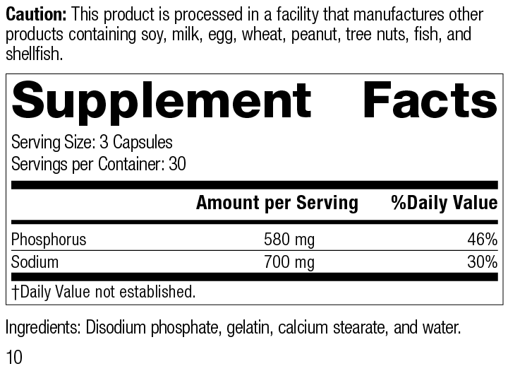 Nutrition Label for Disodium Phosphate